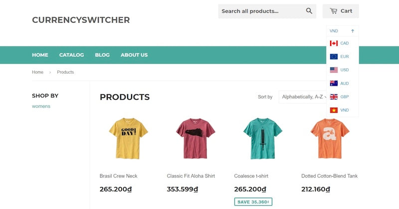 currency switcher shopify