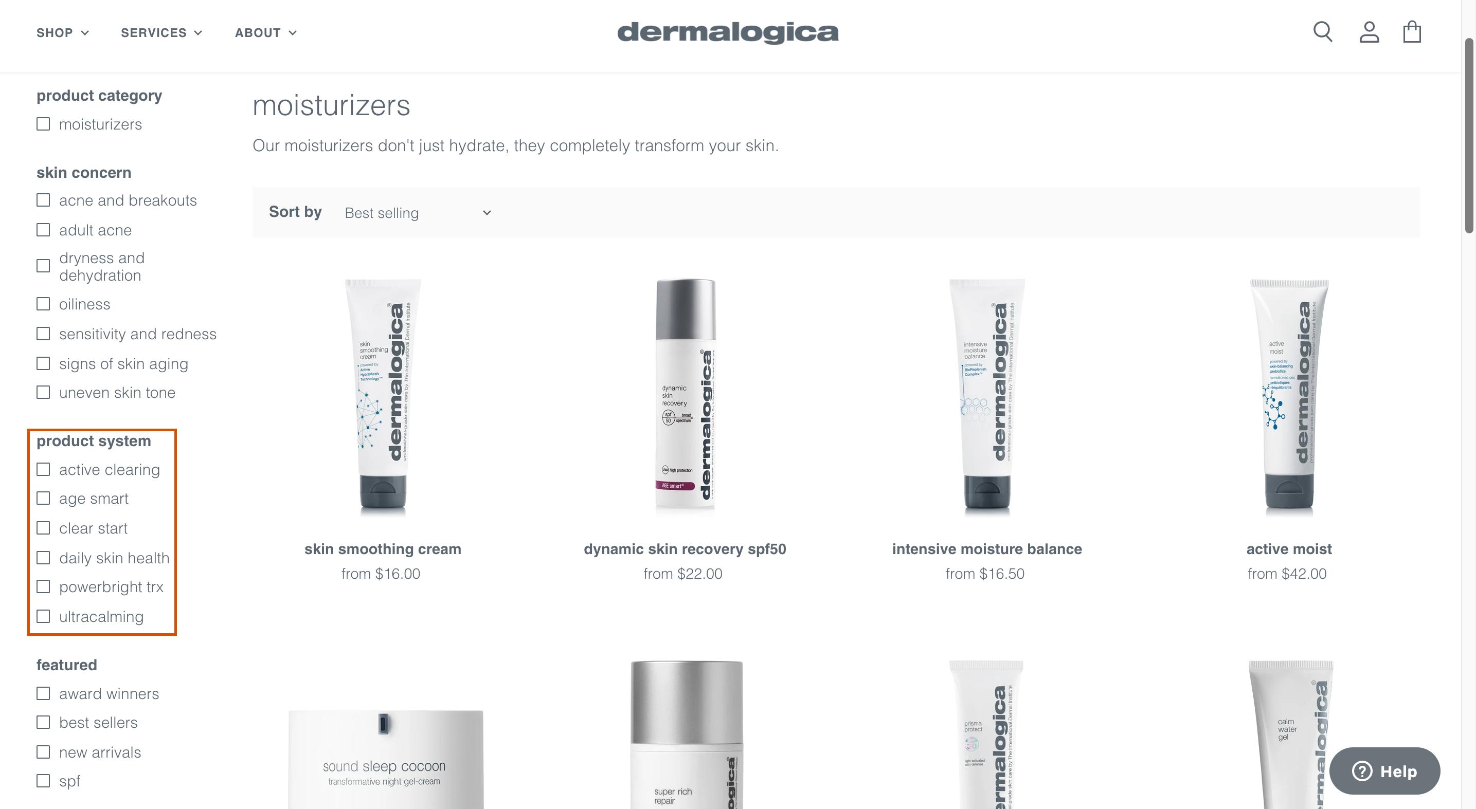 Dermalogica product system filter faceted search