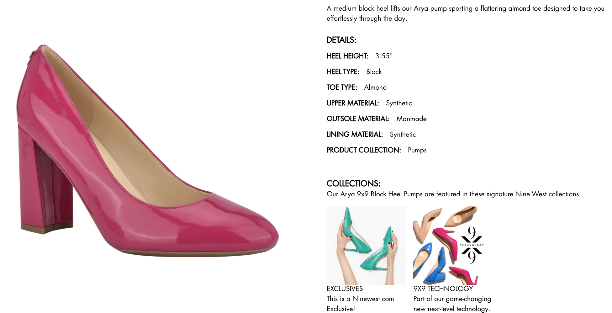 ecommerce merchandising descriptive text on product layout from Nine West