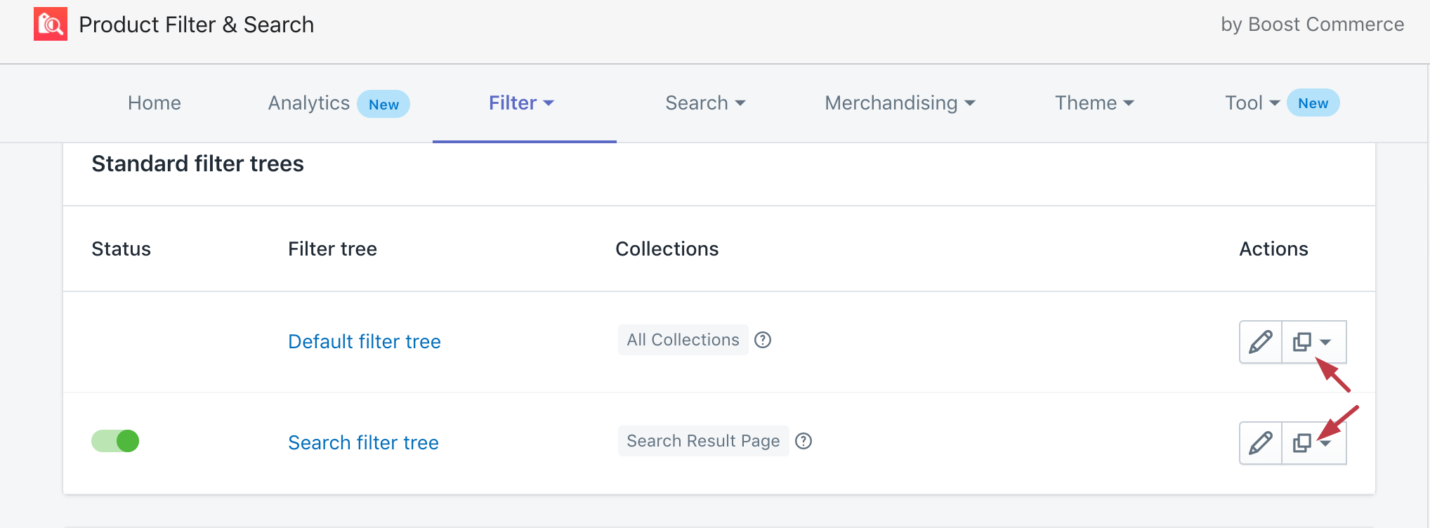 duplicate filter ui ux design boost commerce