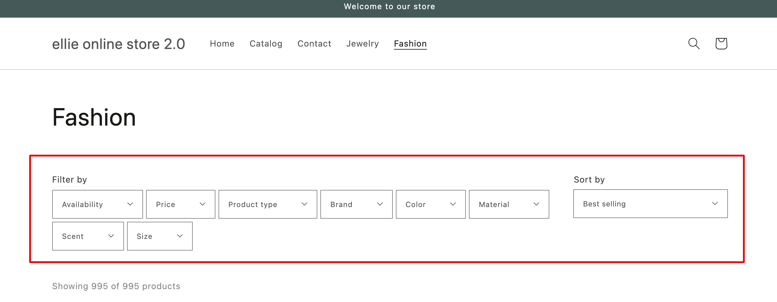 product filters layout dawn theme