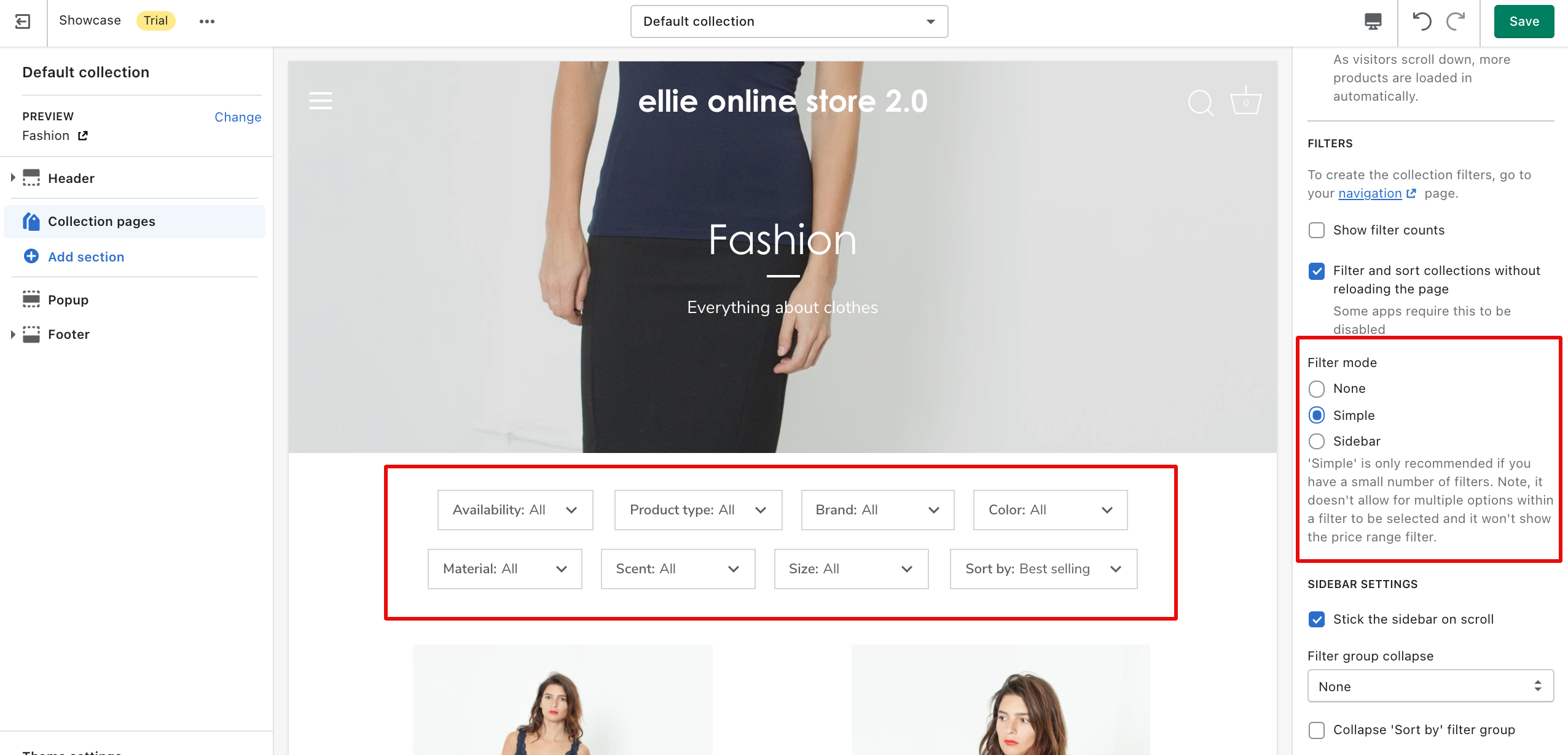 issue when changing layout of shopify storefront filtering