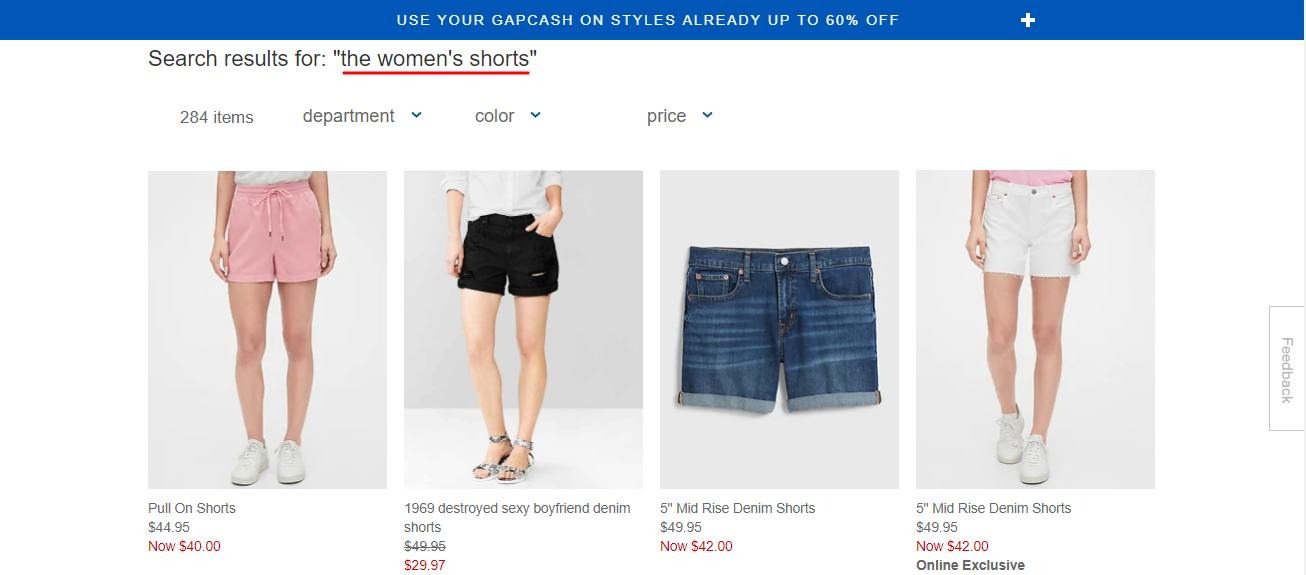 gap shopify search filter stop words example