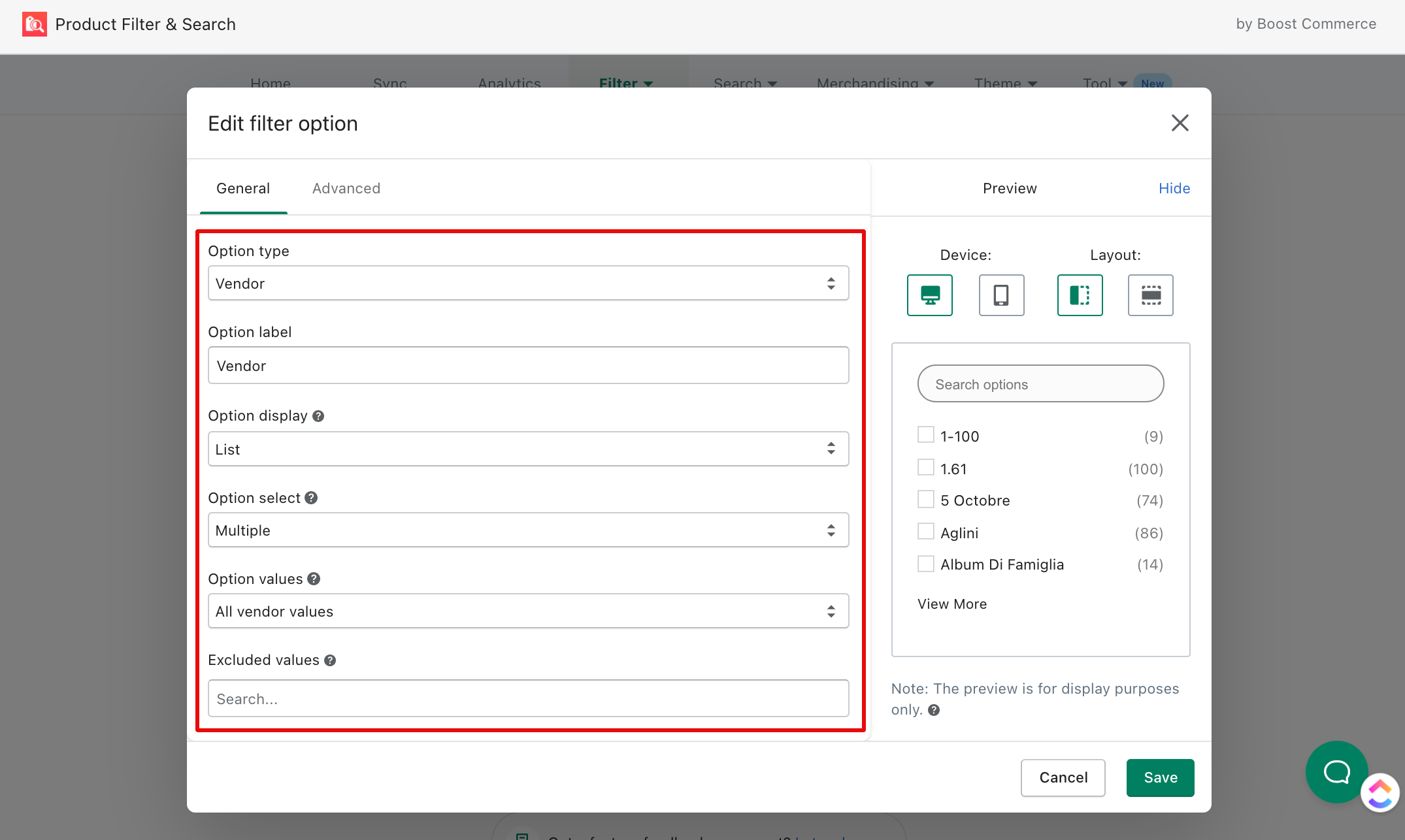 general setting of filter option boost commerce