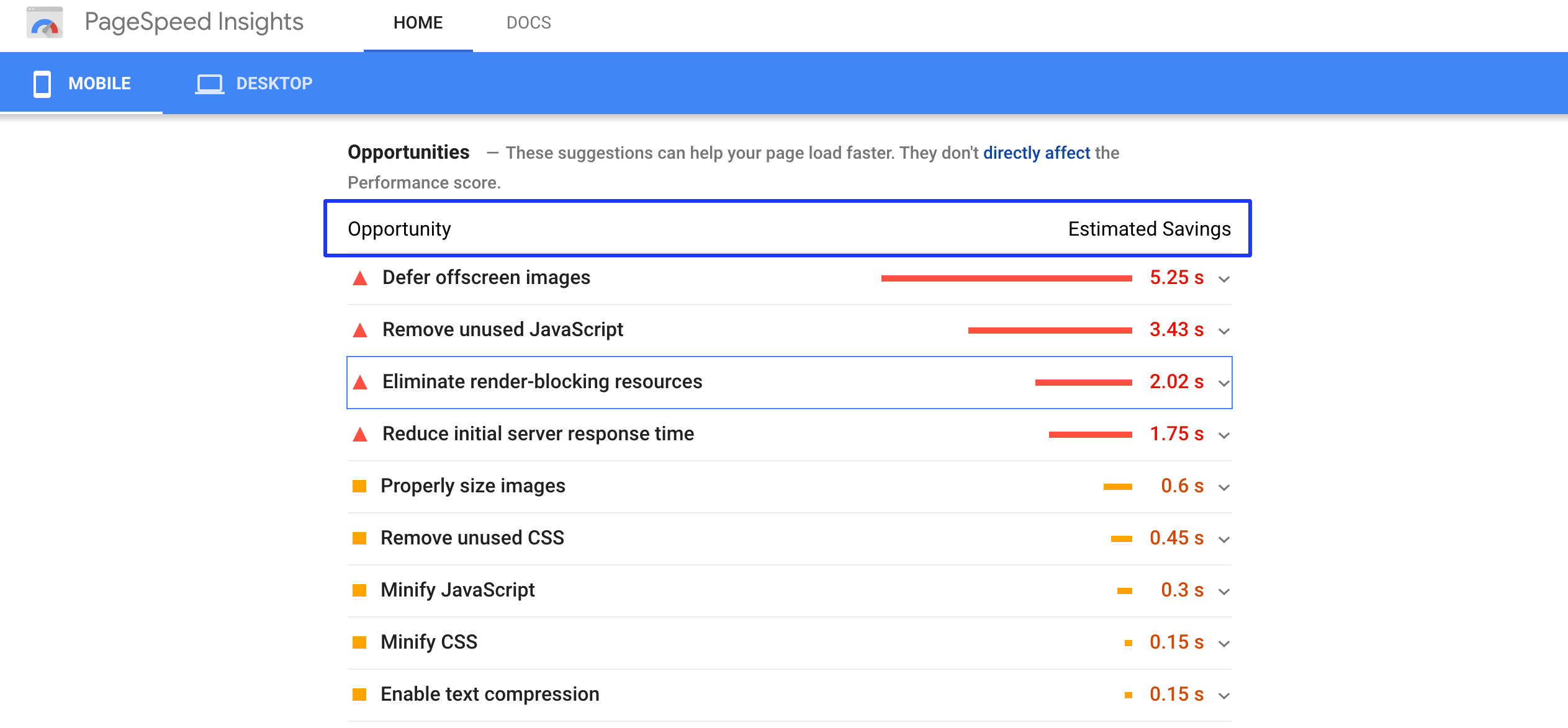 google pagespeed insights mobile optimization for online merchandising
