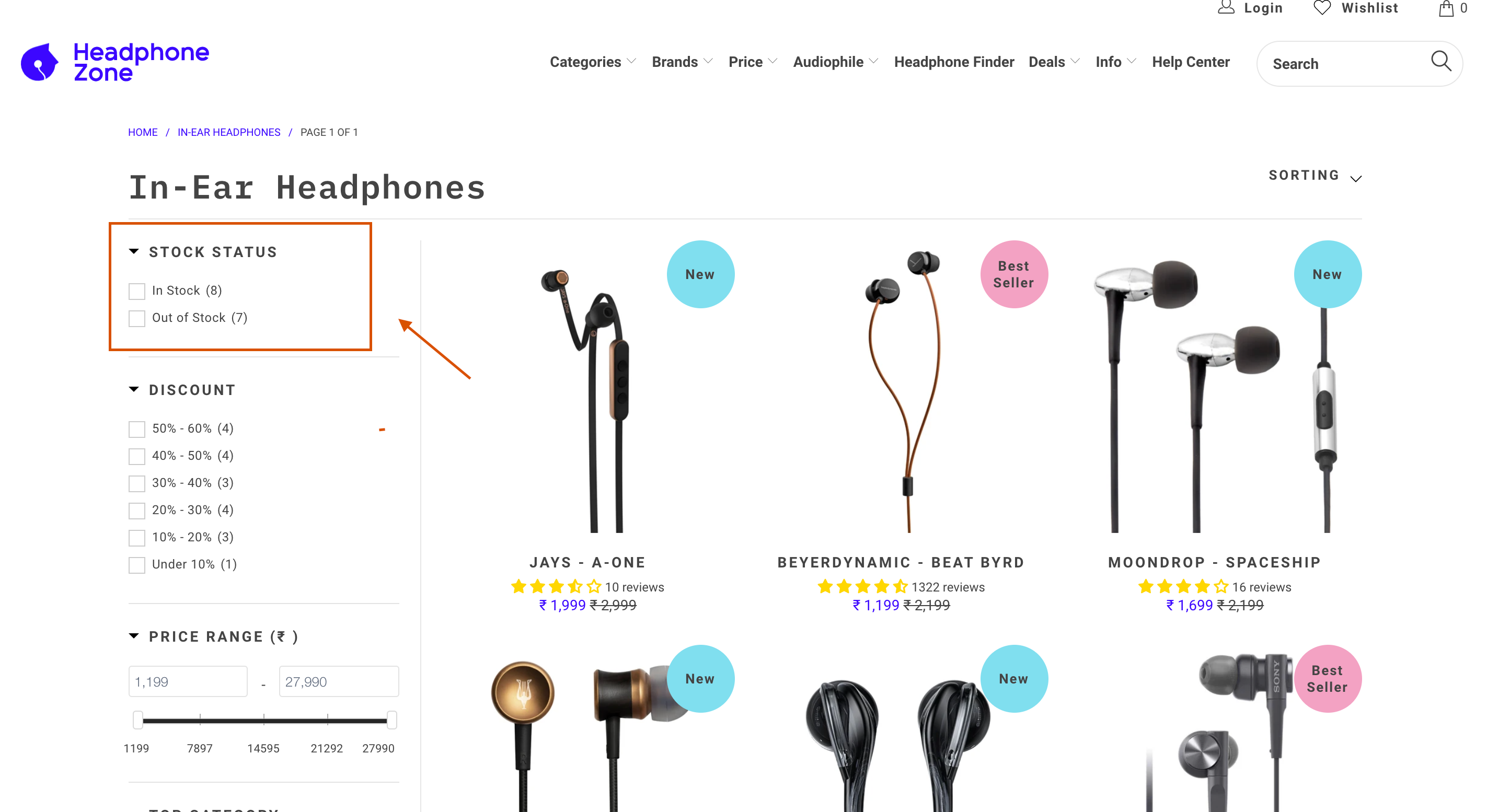 Headphone Zone thematic filters faceted search