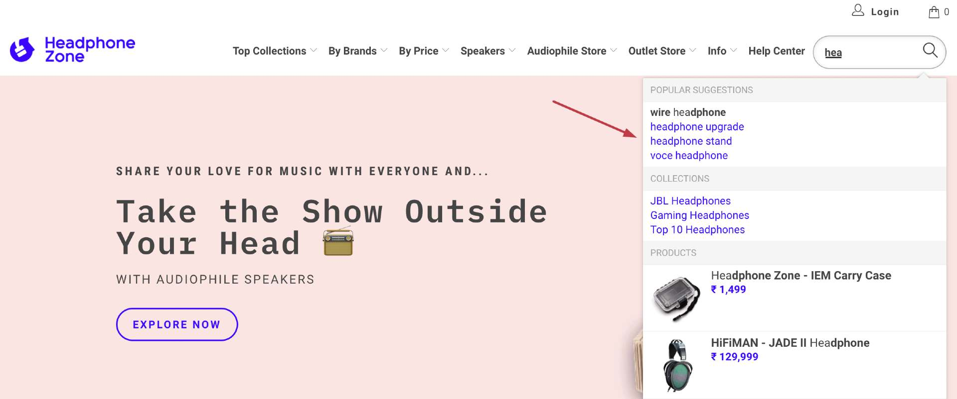 headphone zone search box tips boost commerce no search results