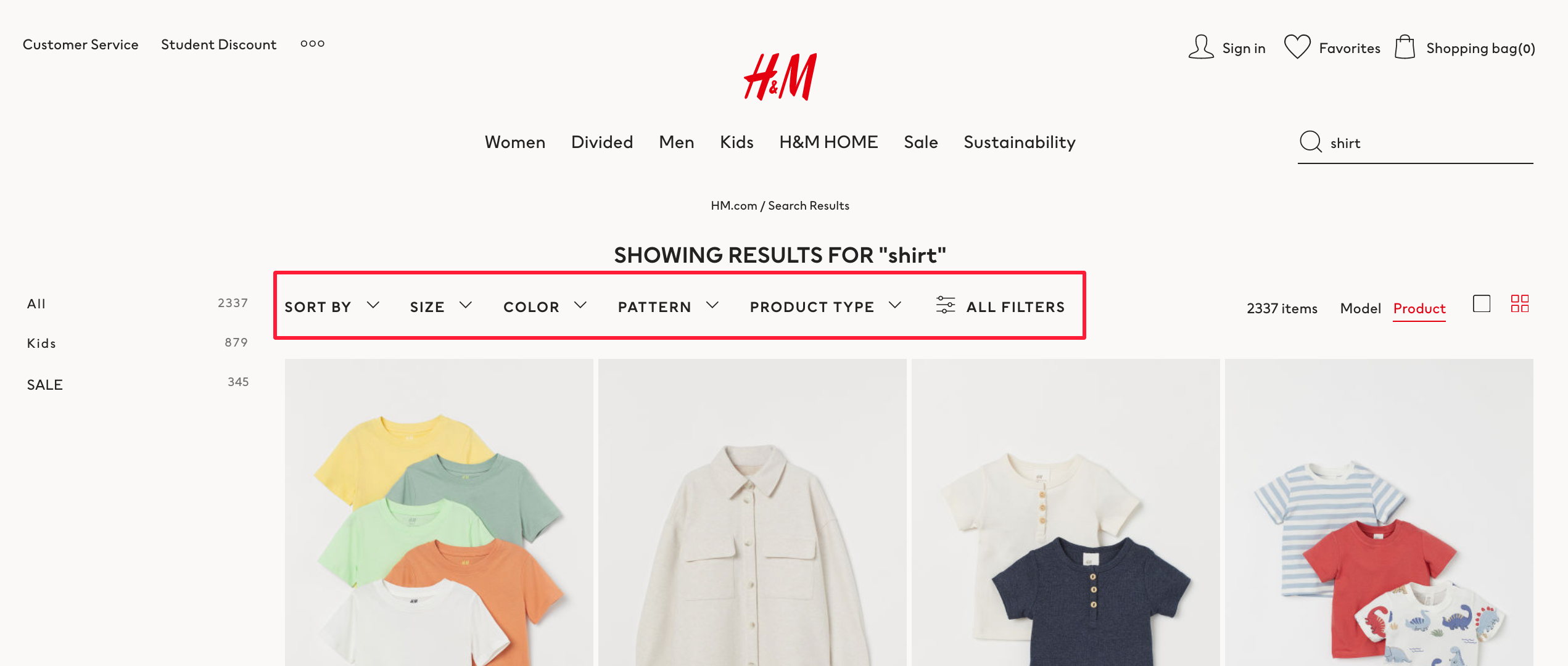 hm horizontal filter tree online merchandising for collection
