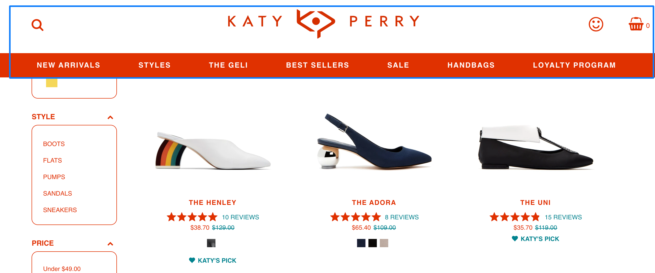 contrasting colors make site search navigation stand out