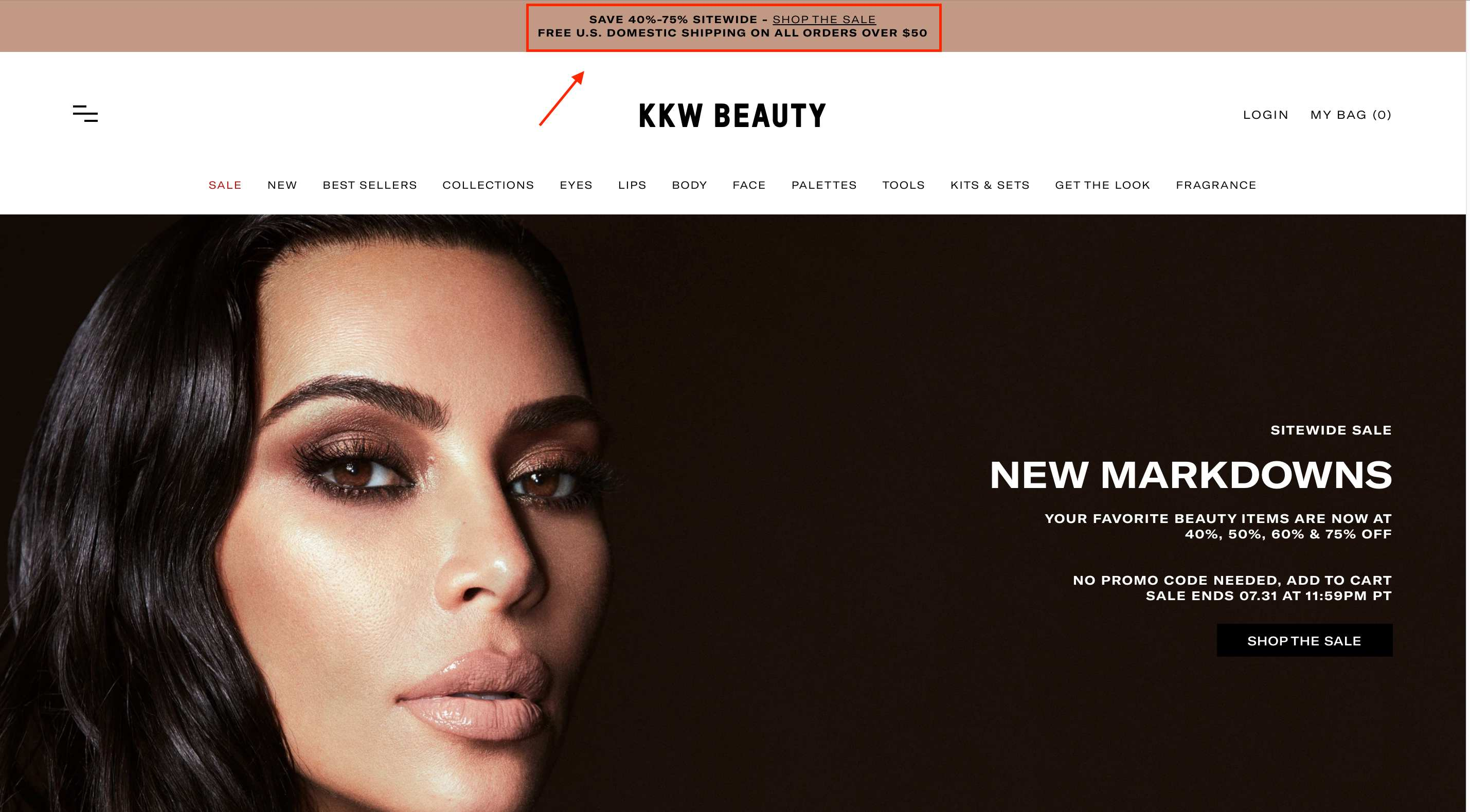 kkw beauty free shipping website conversion rate