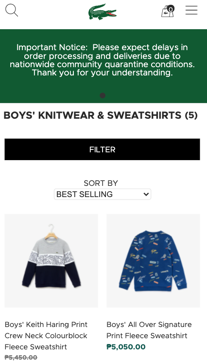 lacoste product filter on mobile filter & site search best practices