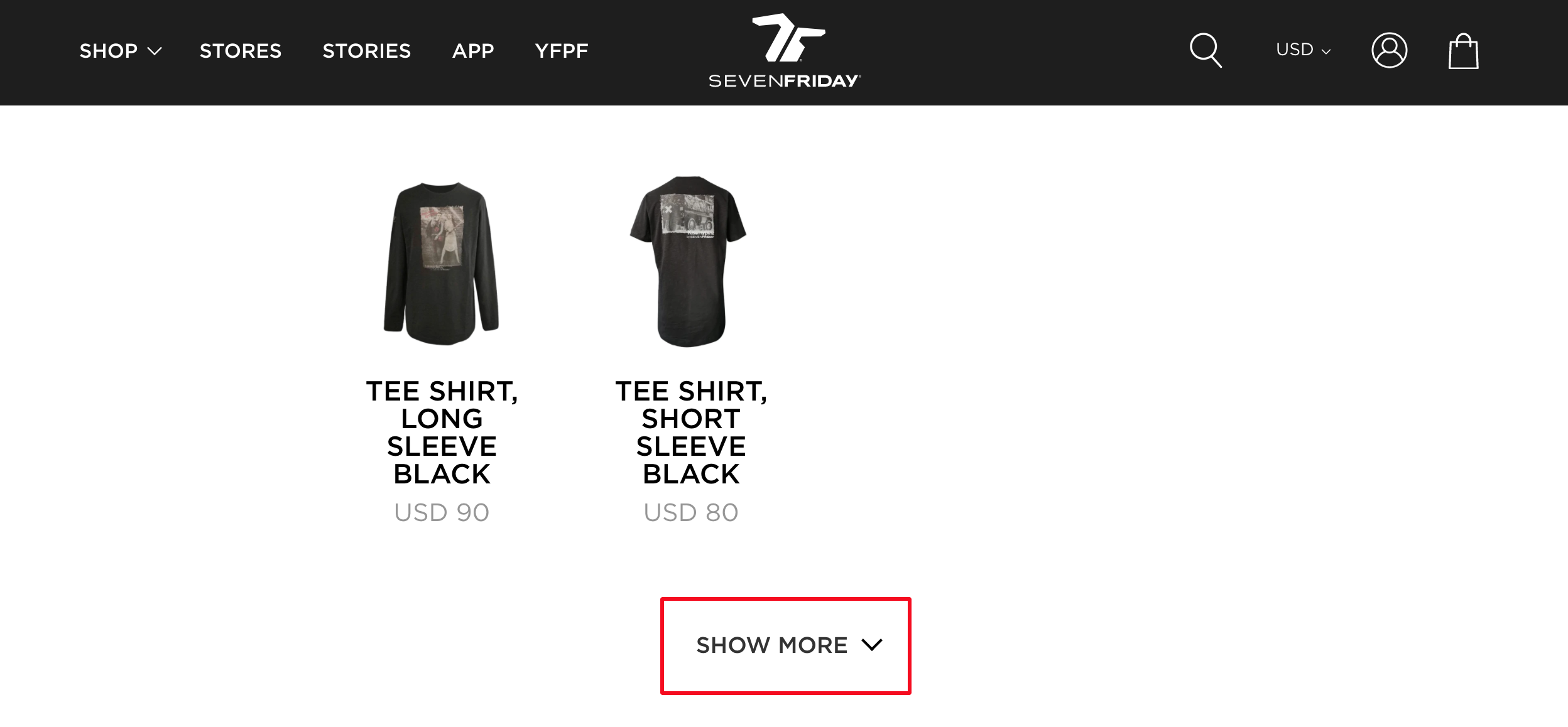 load more button on seven friday Shopify search results