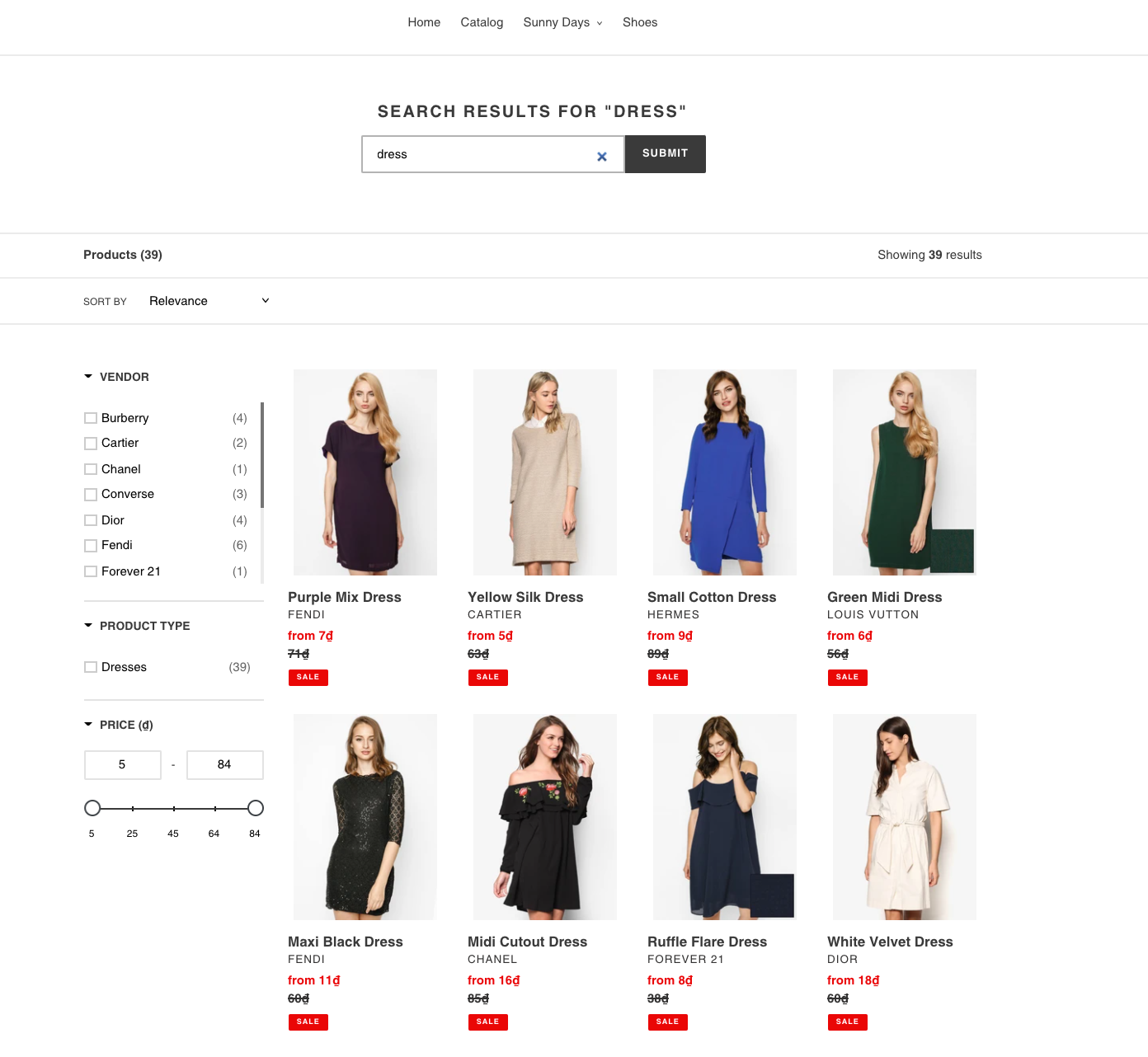 search results before using boost merchandising