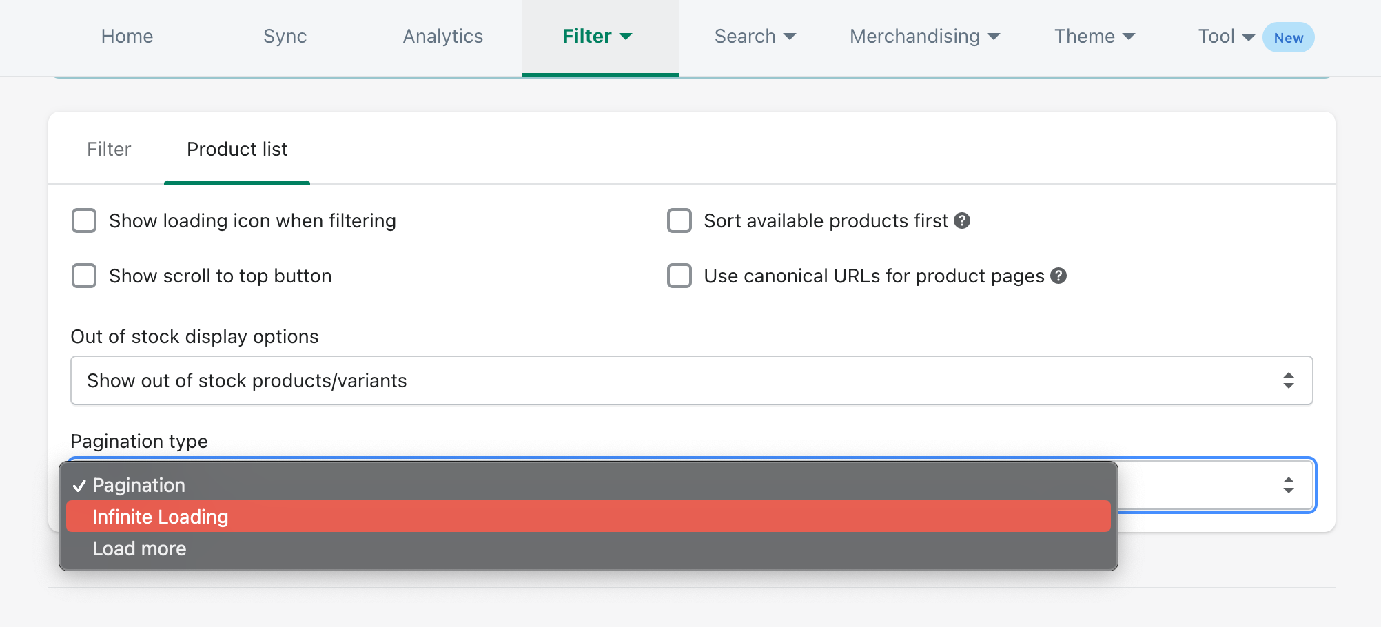 pagination styles using boost product filter & search