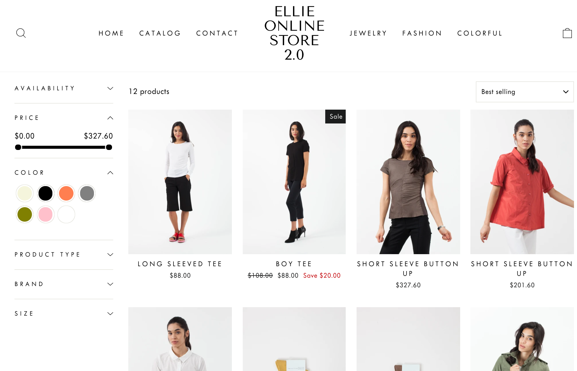 shopify price slider and color swatch filters