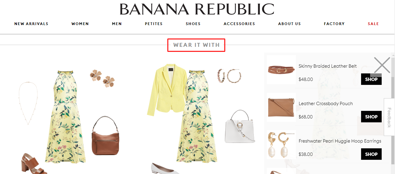 product recommendation product page banana republic example
