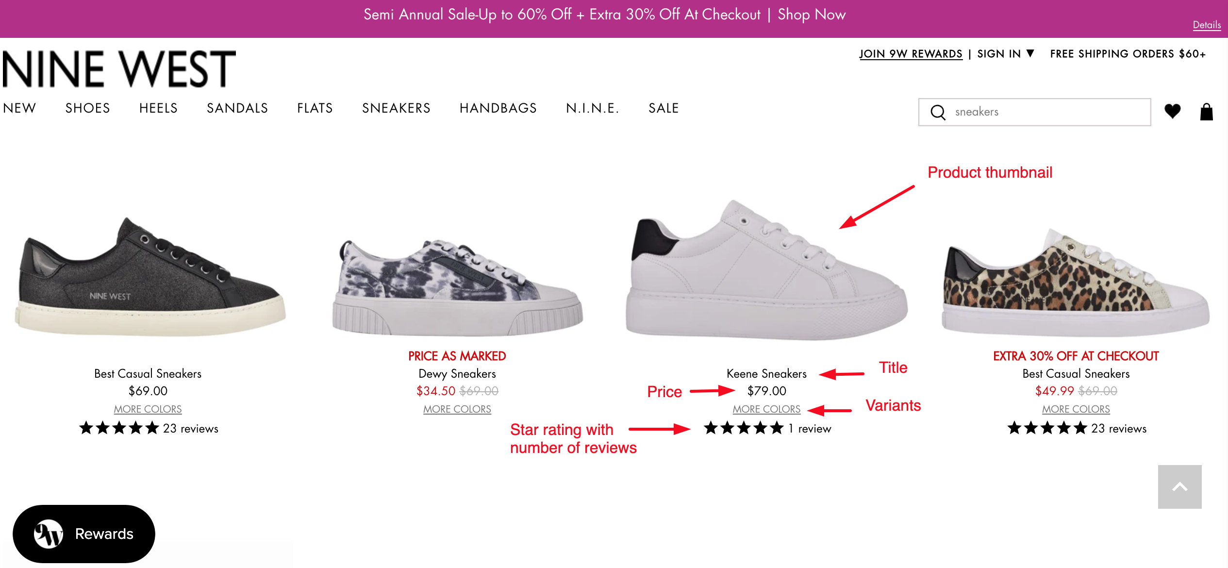 sufficient product info on search result list Shopify search results