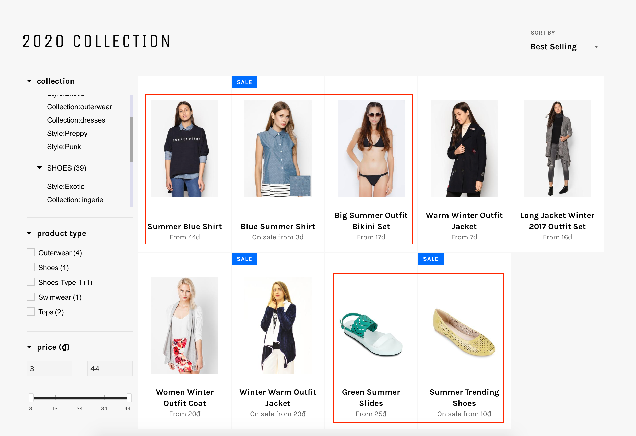 product visibility collection page before