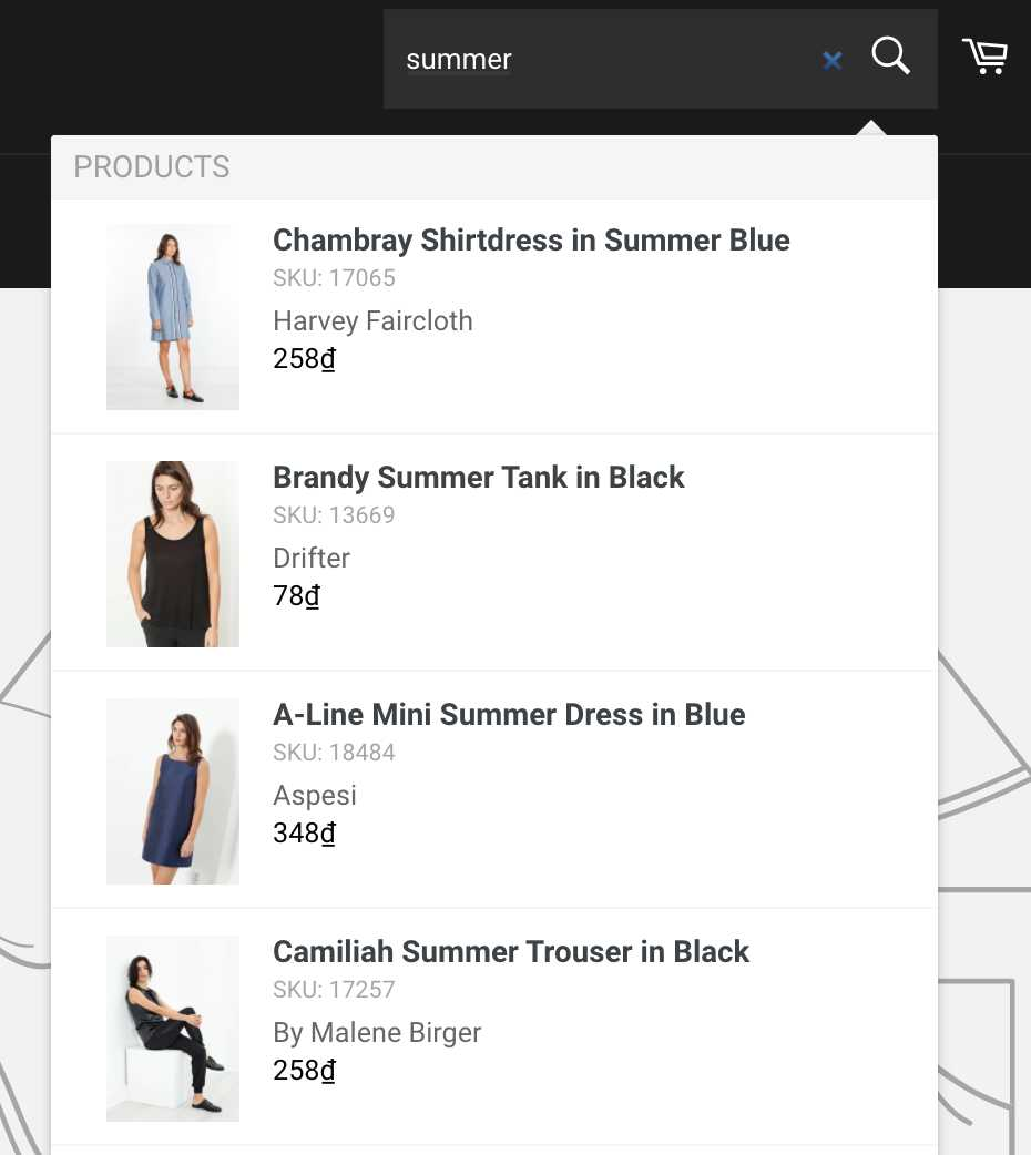 product visibility instant search widget after