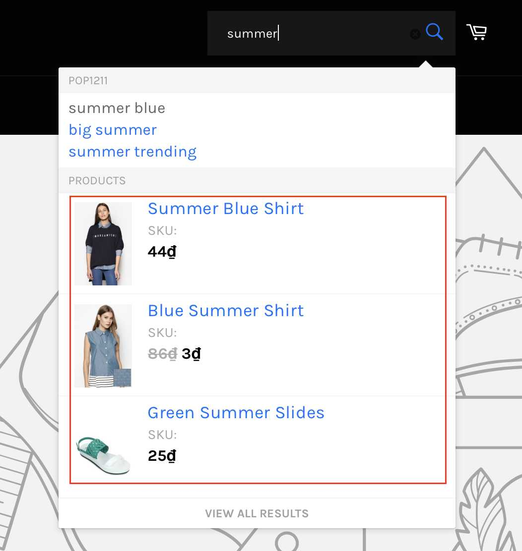 Shopify product visibility search suggestion before
