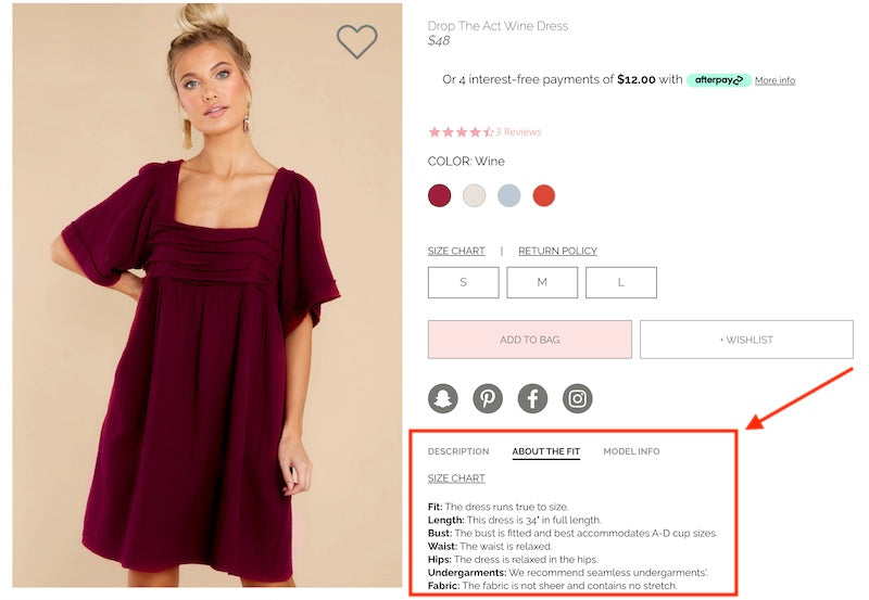 red dress boutique product information | abandoned cart best practices