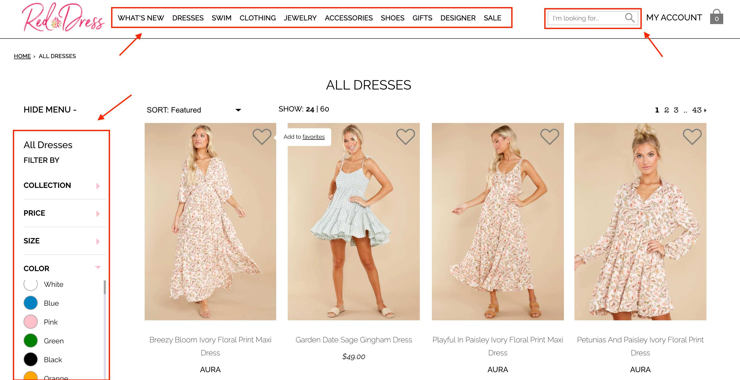 red dress boutique search box and filter tree website conversion rate