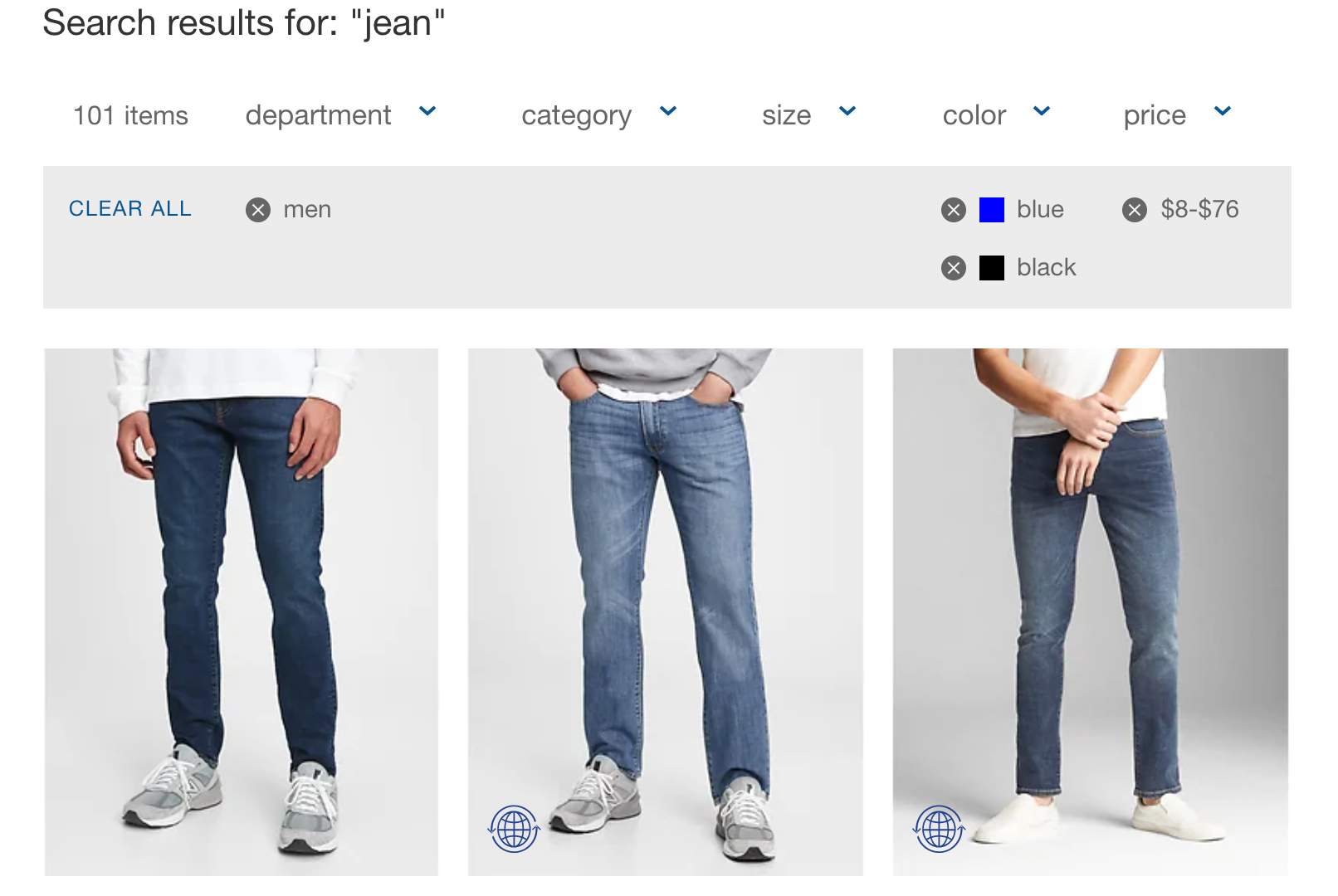 gap drop-down filters with applied values showing shopify search results