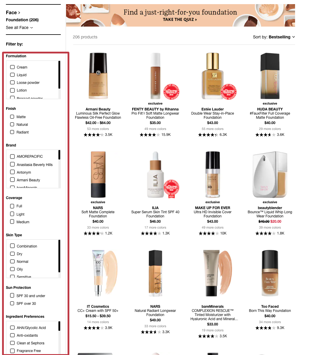 sephora customized filter design boost commerce