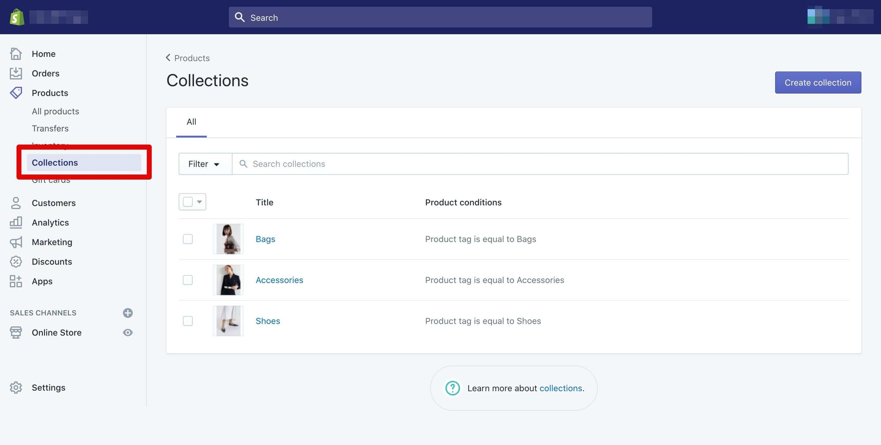 shopify collection definition