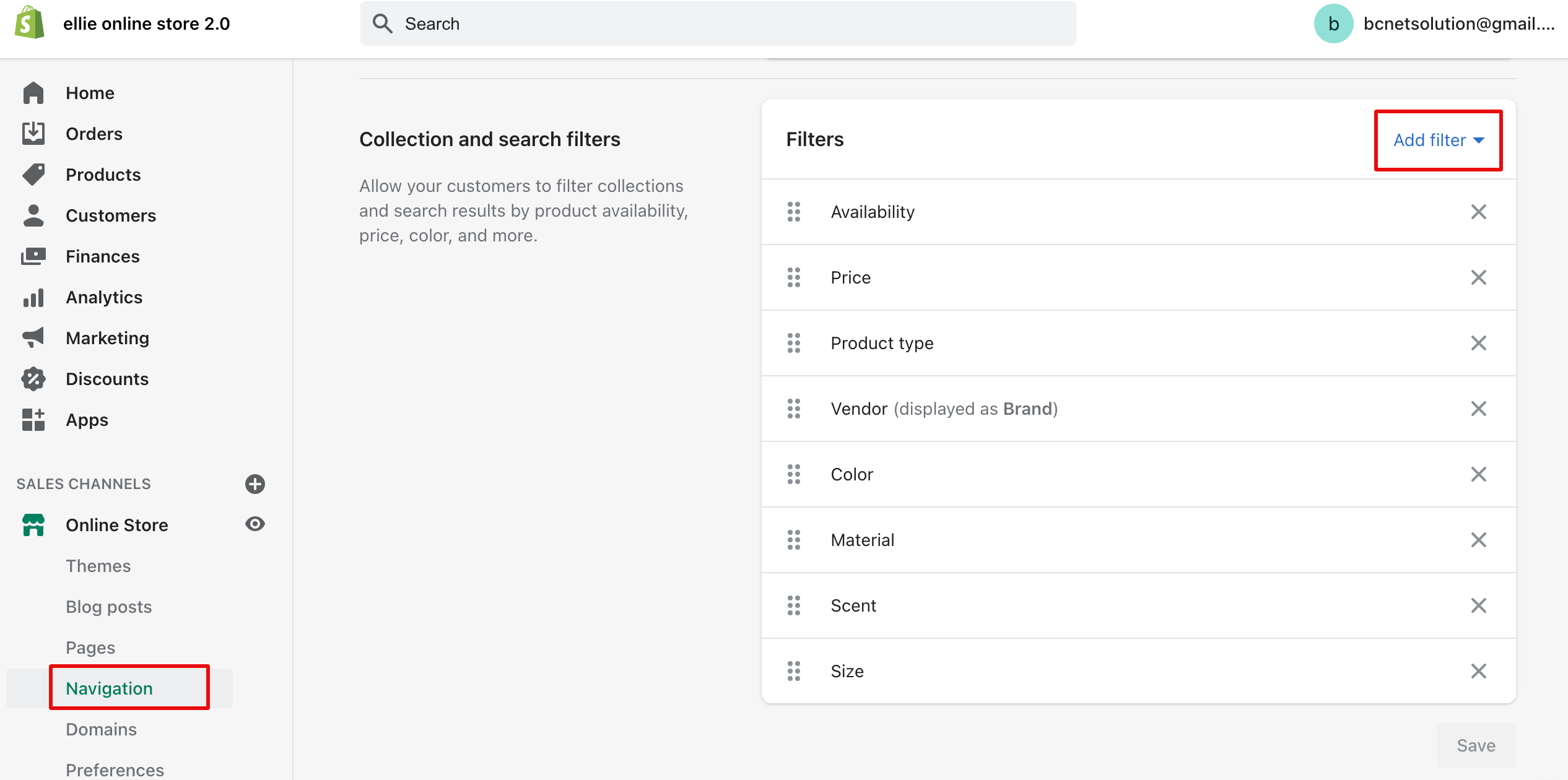 shopify product filtering in navigation setting