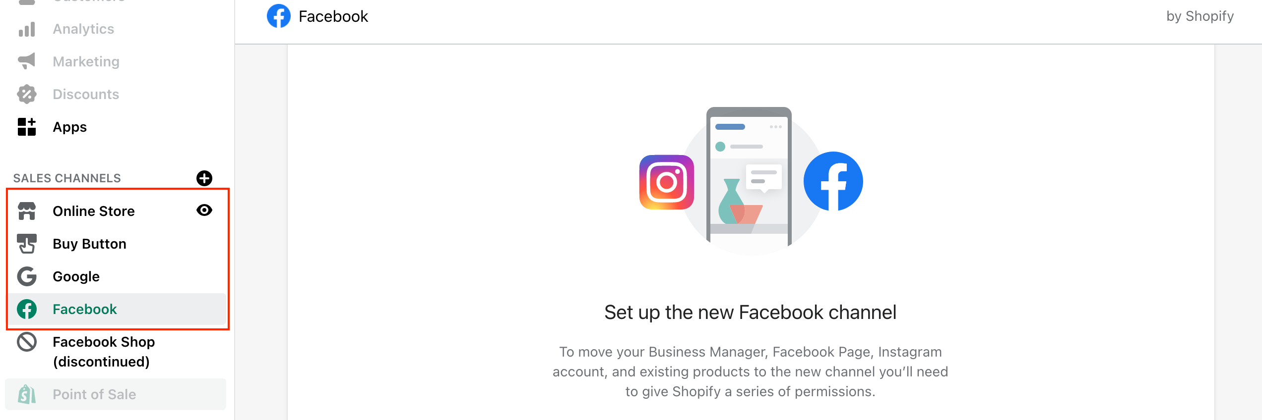 shopify social channel connection