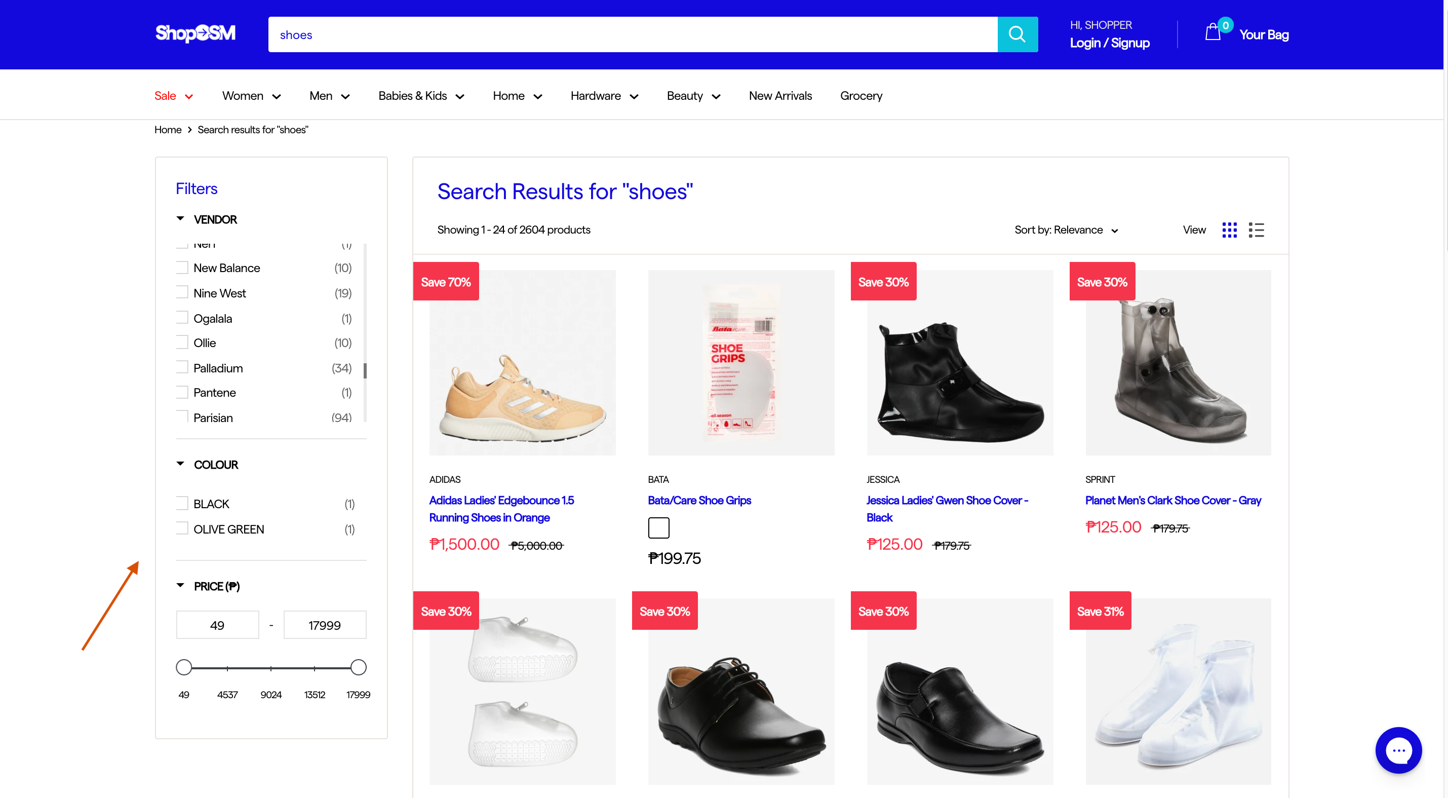 ShopSM faceted search