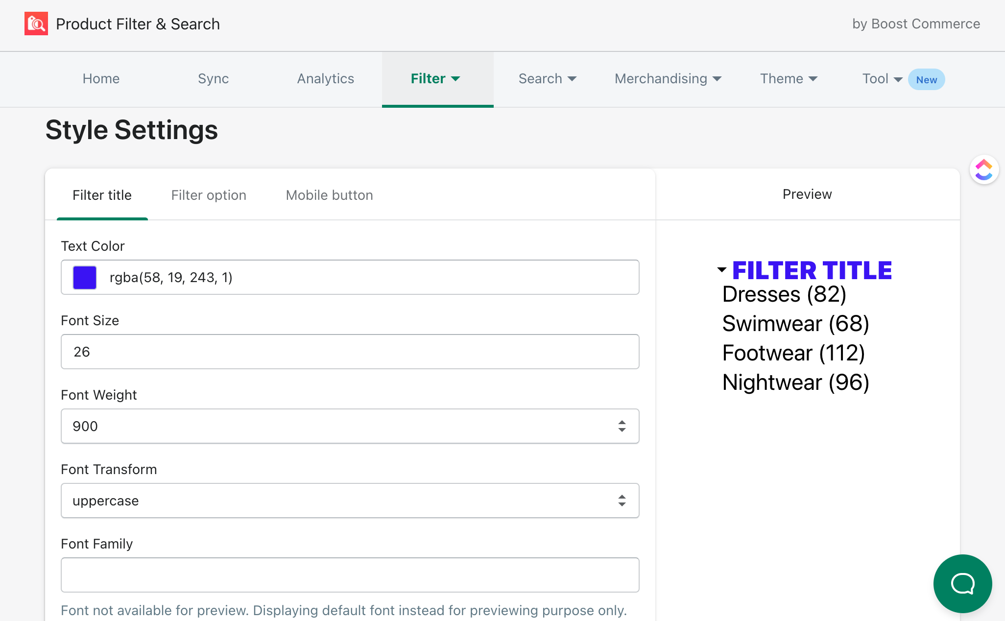 styling product filters with boost product filter & search