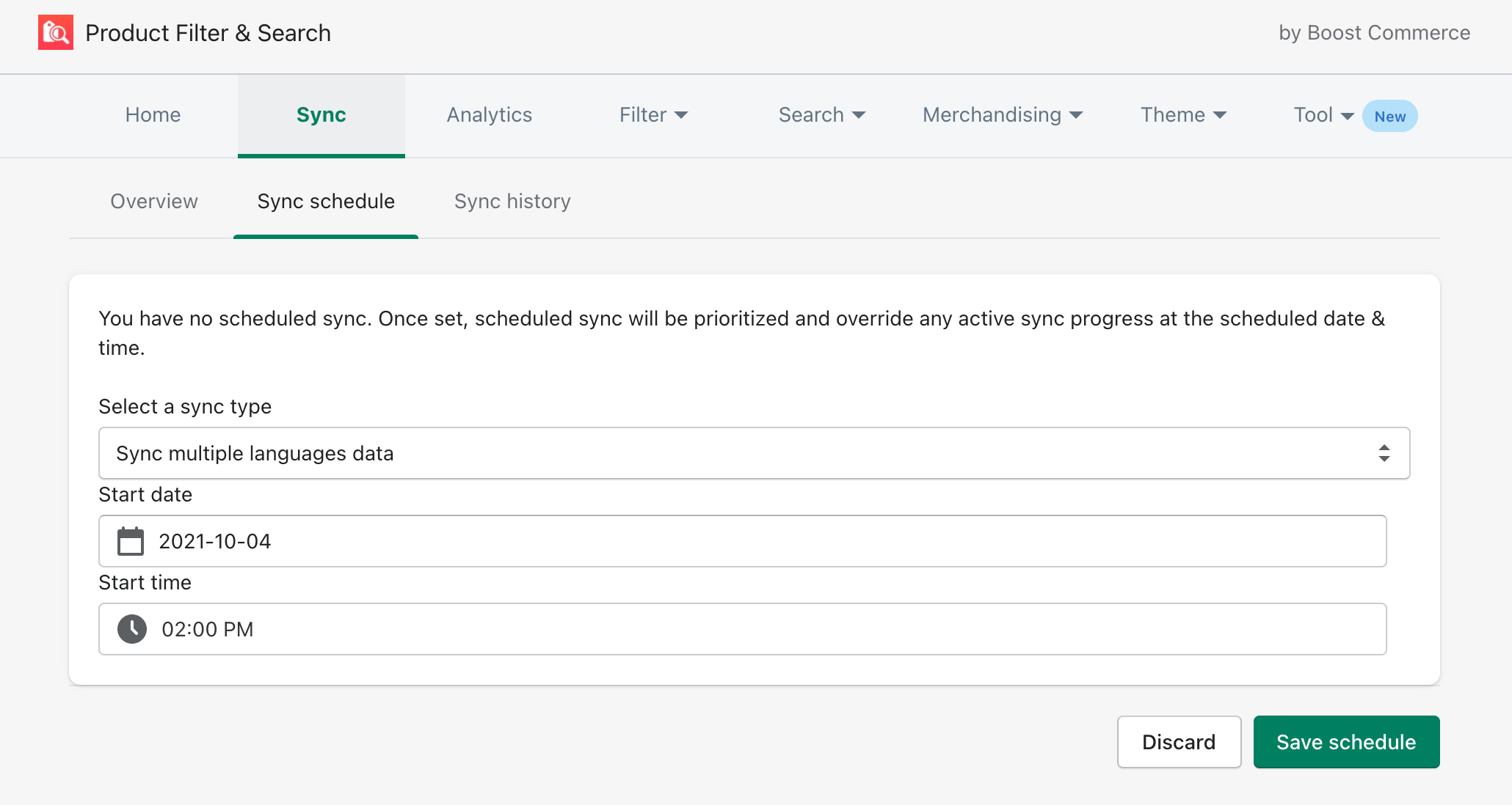 sync schedule boost product filter search update