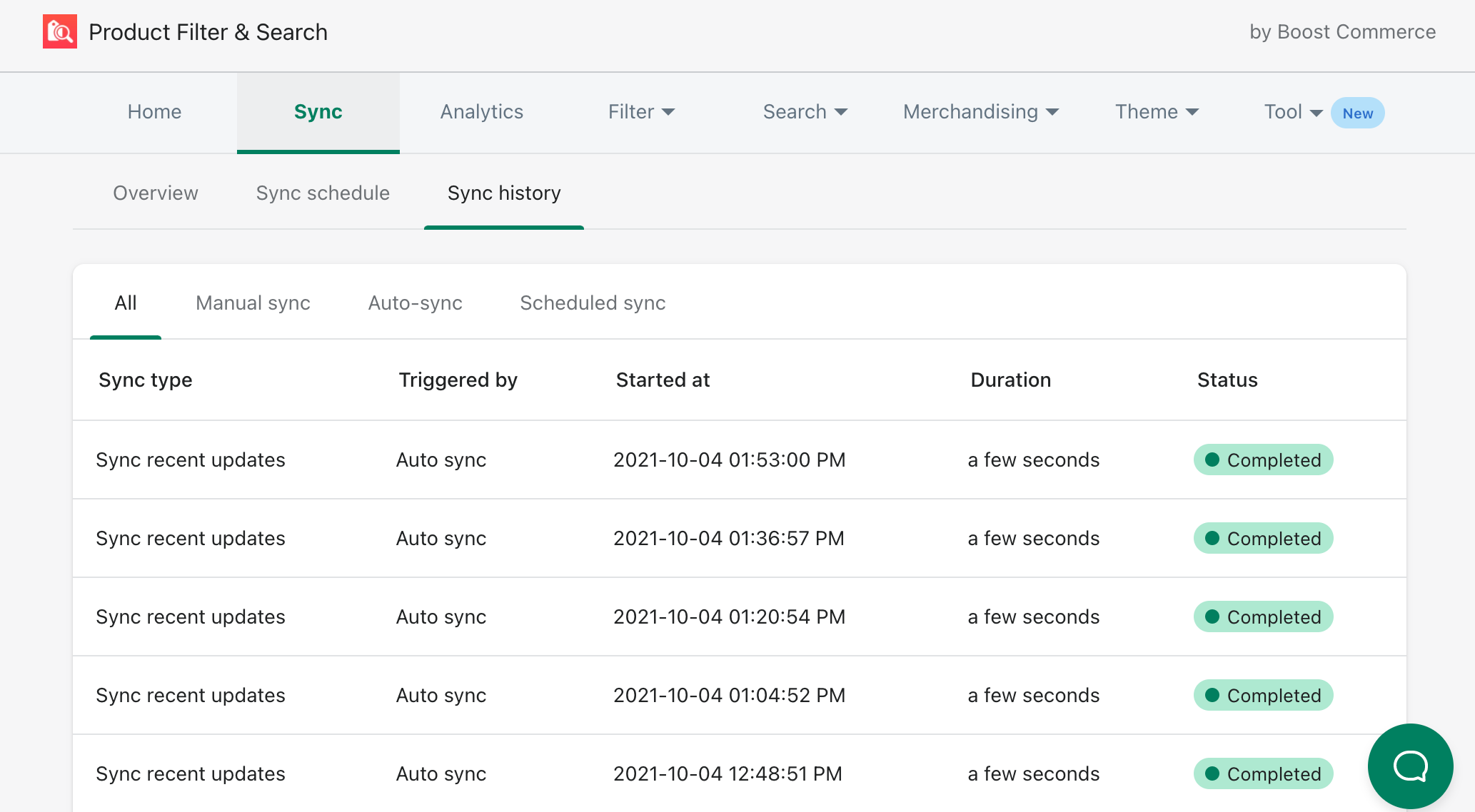 sync history boost product filter search update
