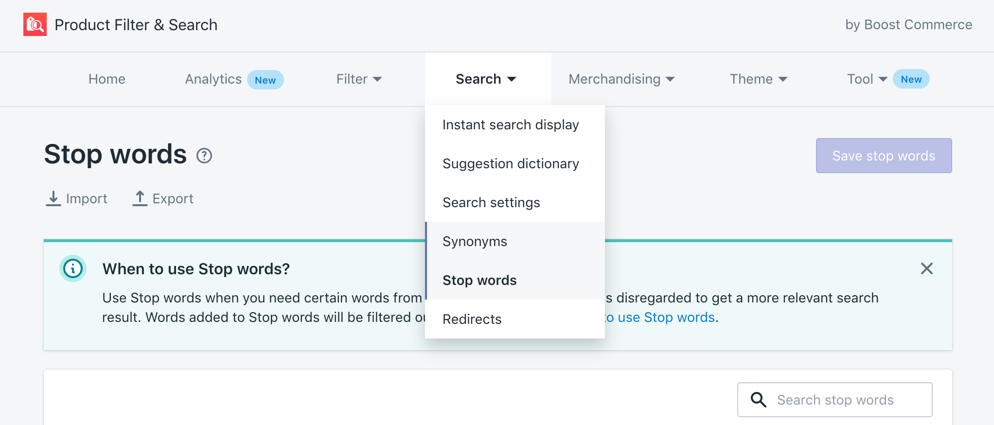 synonyms stop words site search functions