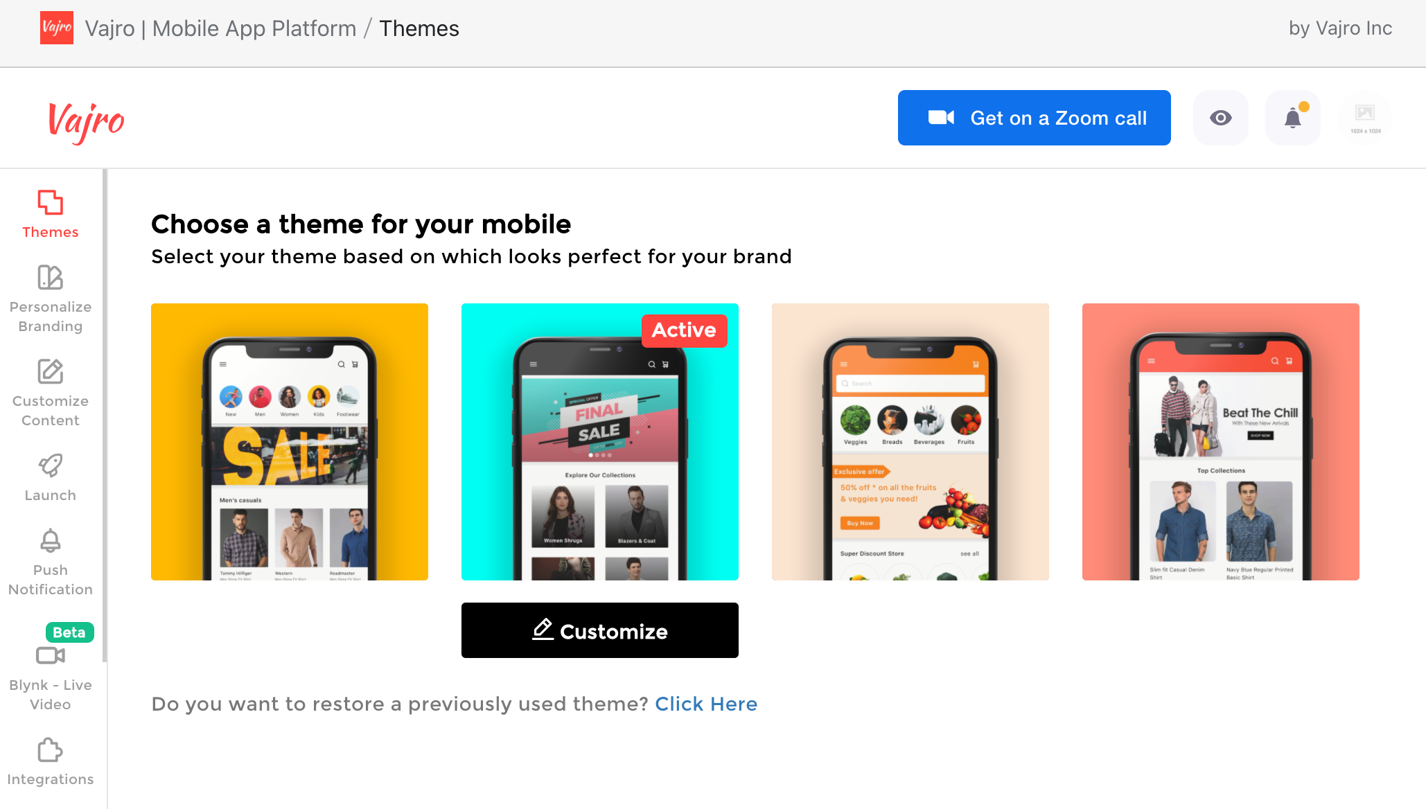 pre-built themes on vajro help users create a shopping app quickly