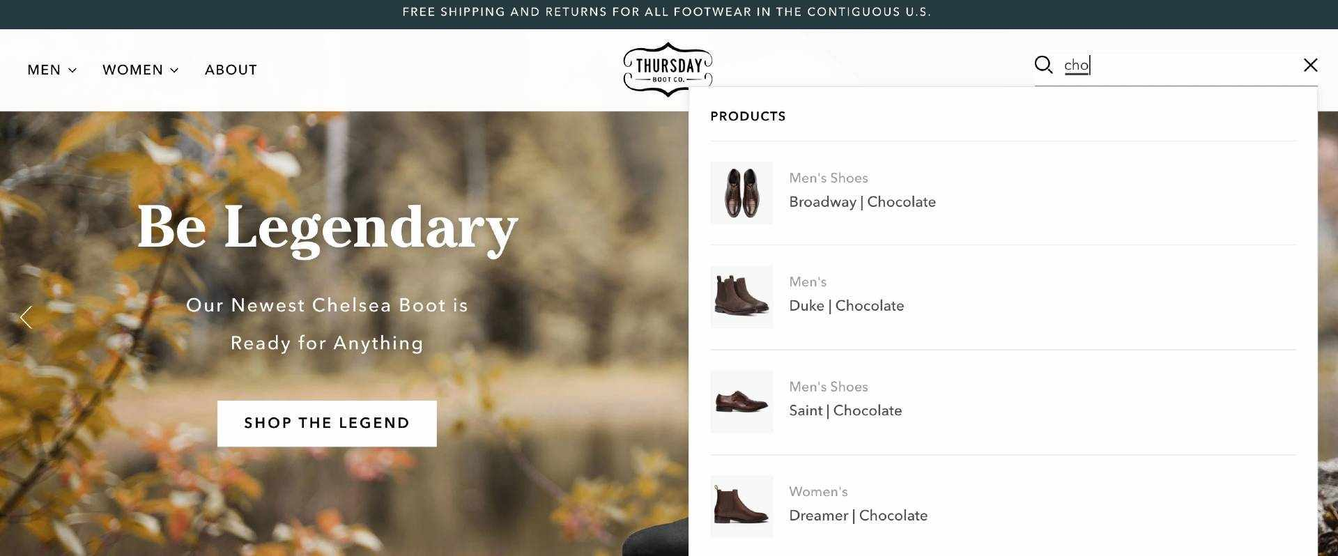 thursday boots example search box tips boost commerce no search results