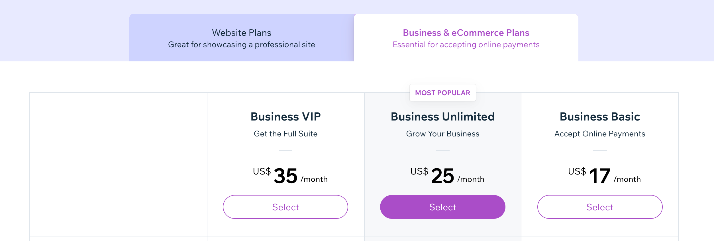 wix pricing for ecommerce business