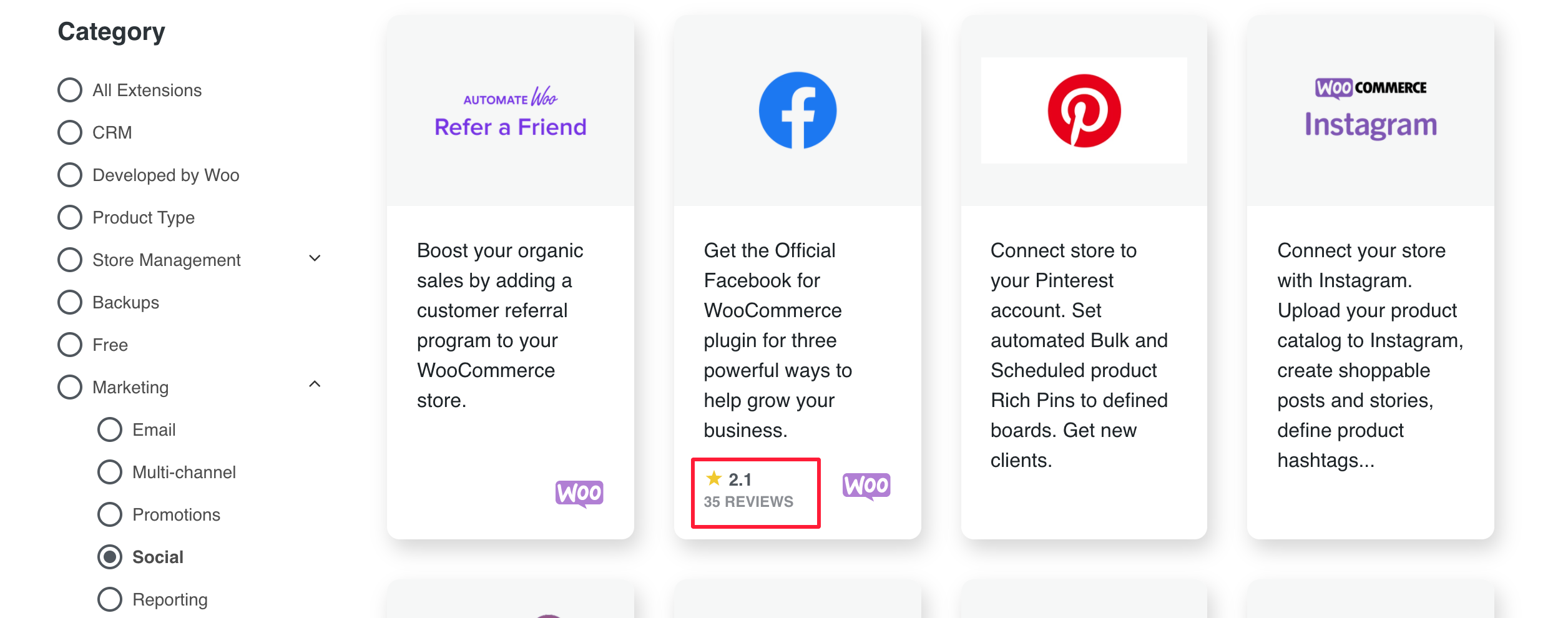 woocommerce social channel connection bad rating