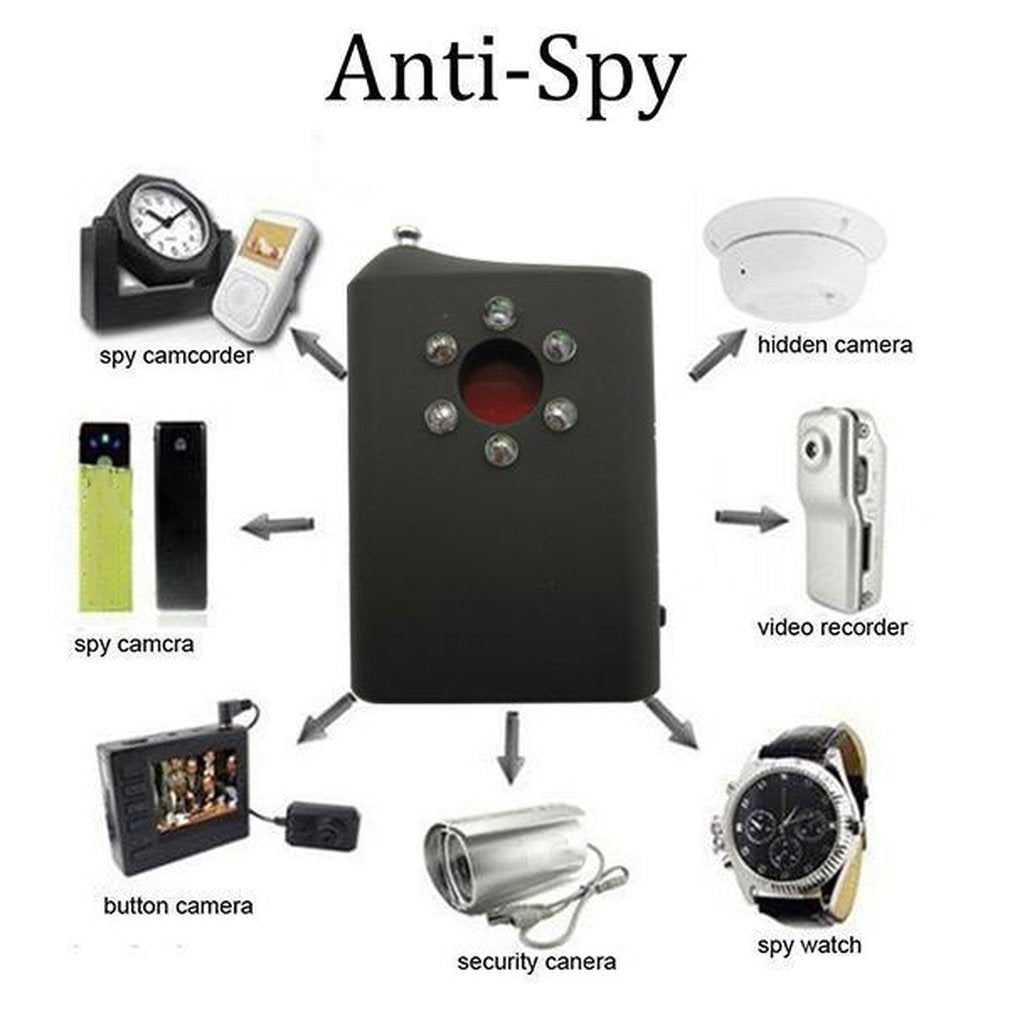 Anti-Spy RF/LENS Detector For Wireless GPS Signal Hidden Mini Camera Lens Multi Function Bug Camera Signal Detector Finder Hot