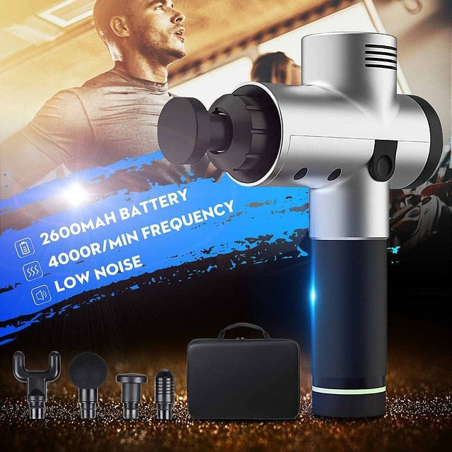 4000r/min Therapy Massage Guns 3 Gears Muscle Massager Pain Sport Massage Machine Relax Body Slimming Relief 4 Heads With Bag
