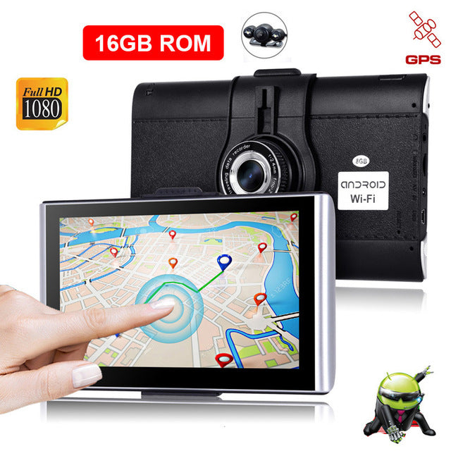 "XGODY 7"" Car Dash Camera DVR GPS Android 512M 8GB/16GB Touchscreen Navigation Car 1080P WiFi AvIn Free Map Dashcam Navigator"
