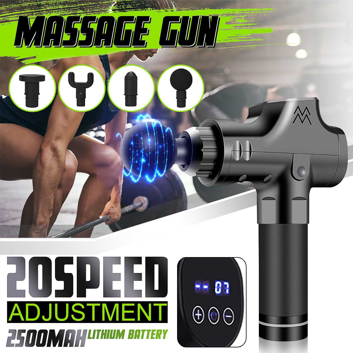 20 Gear LCD Electronic Therapy Muscle Massage Guns Deep Tissue Massage Theragun Body Relaxation Pain Relief Massager +4 Heads
