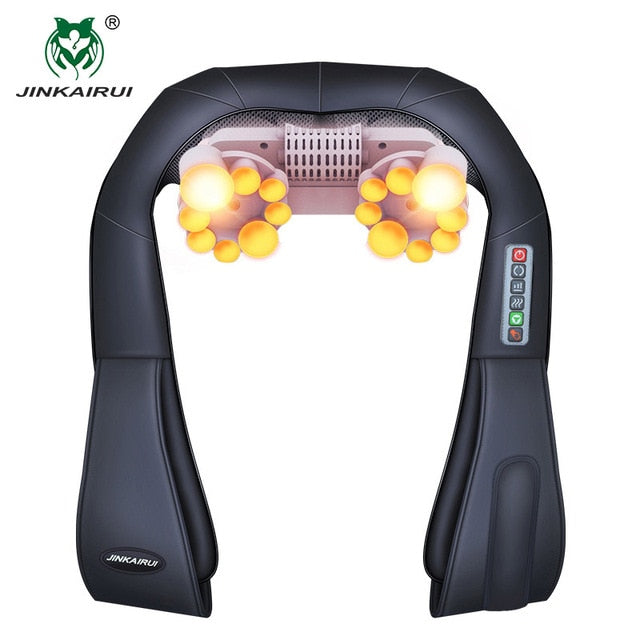 Jinkairui Neck Massager Back Electric Relieve Pain with Heat Vibrator Best Gift Men Women Dad Mom Christmas Valentines Present