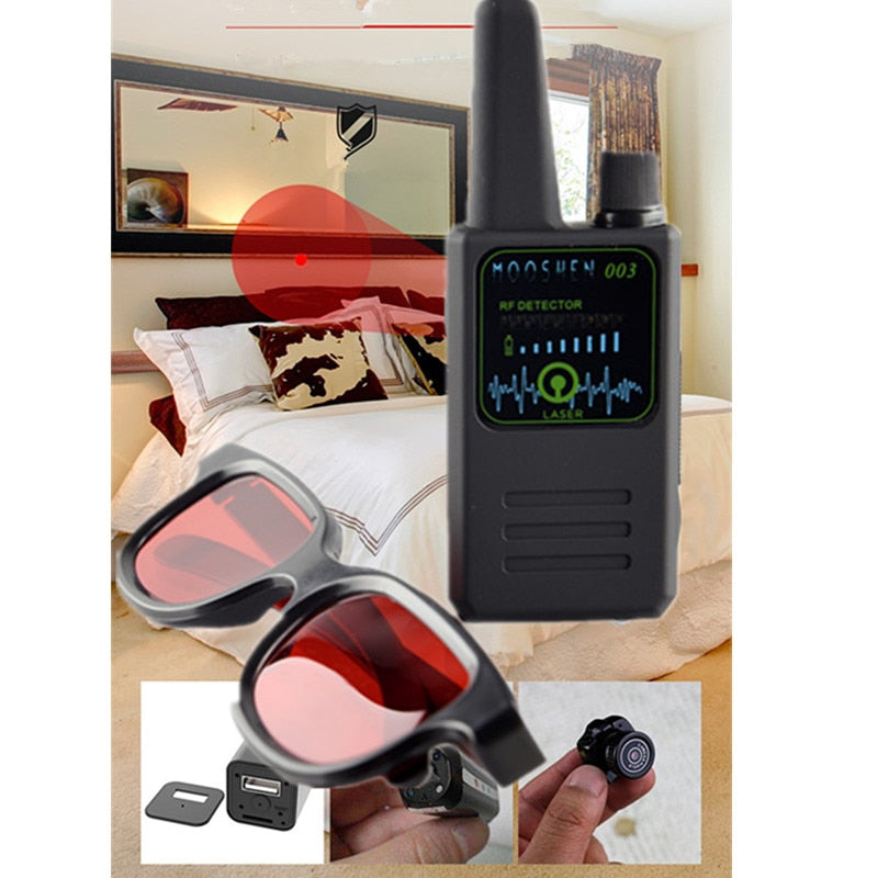 2019 Multi-function Anti-spy Detector Camera GSM Audio Bug Finder GPS Signal Detector Small Lens Infrared Glasses Finder M003