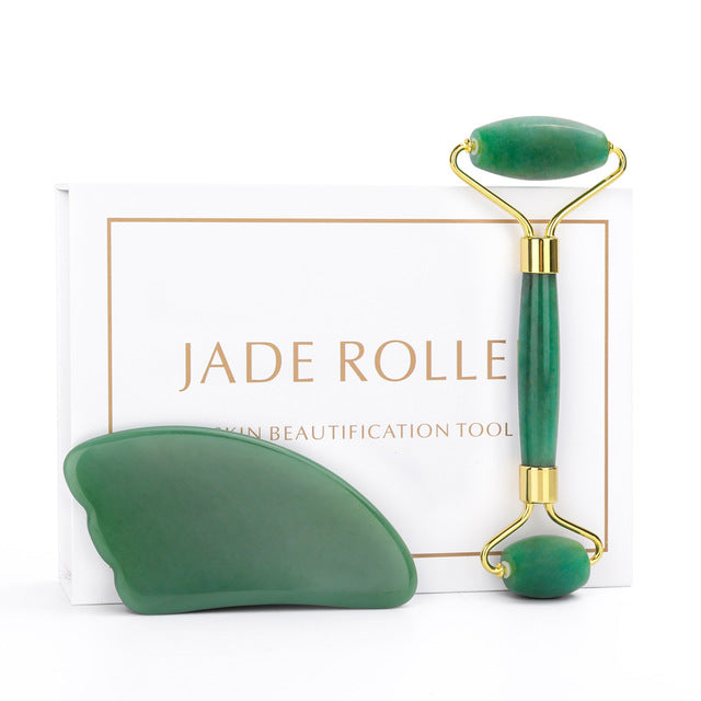 Jade Roller and Gua Sha Tools Set 100% Real Natural Nephrite Jade Roller for Face Eye Neck Anti Aging Jade Facial Roller Massage
