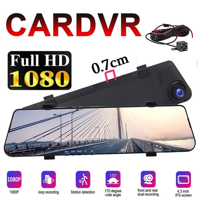 4.3 Inch IPS Front And rear view camera 170 Degree Driving recorder Dual Lens car DashCam Camera FHD 1080P drive DVR  Mirror New