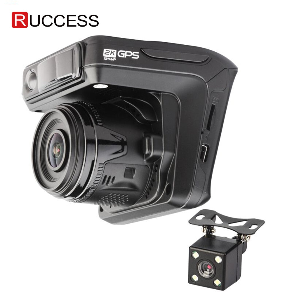 Ruccess Dash Camera DVR 3 in 1 Radar Detector with GPS for Russia Full HD 1080P 1296P Dashcam 2 Camera Video Recorder for Car