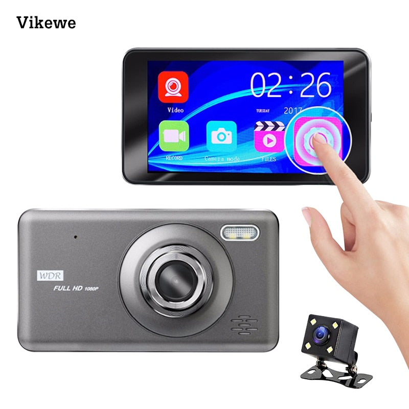 Vikewe Car DVR 4 Inch Touch Auto Camera Dual Lens Dash Cam Video Recorder FHD 1080P Registrator With Rear View Camera Dashcam